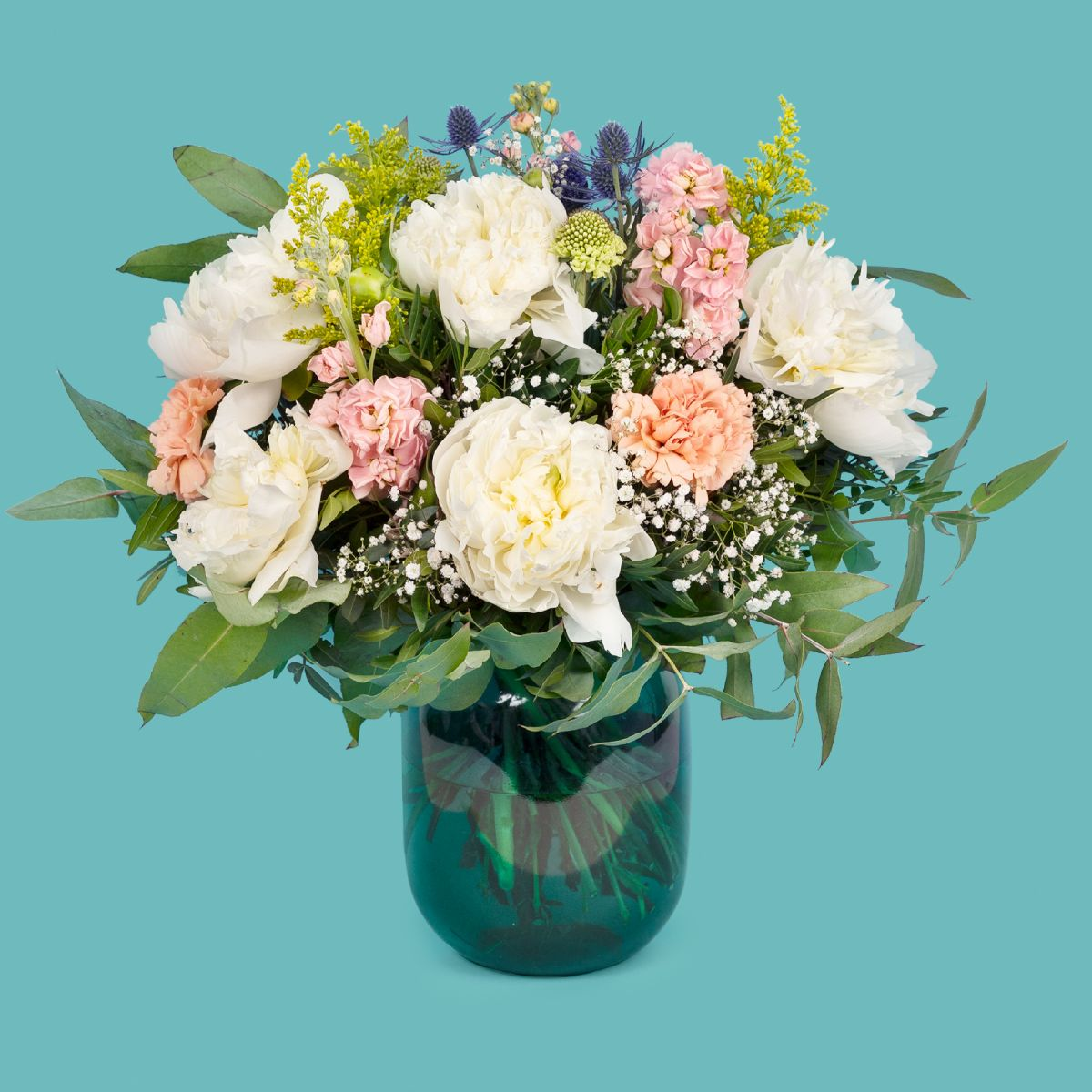 Fiori a domicilio - Bouquet di Peonie Bianche e Garofani  con Peonie Extra - FOLLOW ME BABE - Colvin