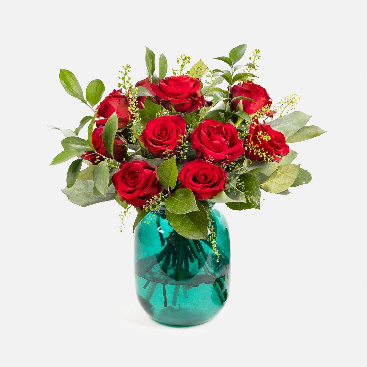 Fiori a domicilio - Rose rosse e foliage - Living In Red - Colvin
