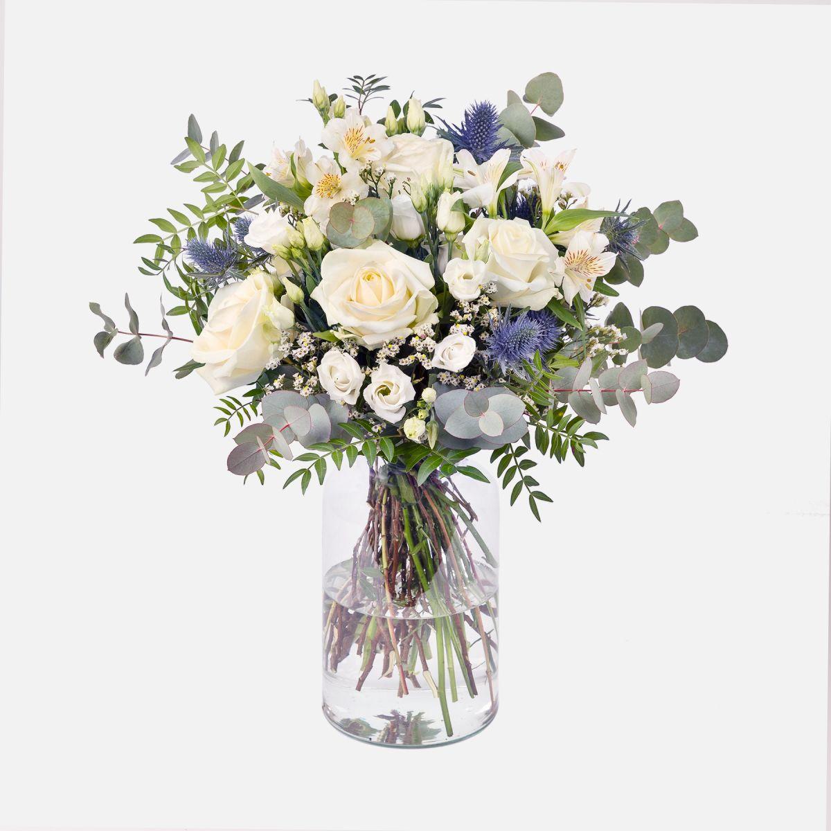 Mazzo di Fiori di Rose Bianche e Alstroemeria - Essence - Fiori a domicilio - Colvin
