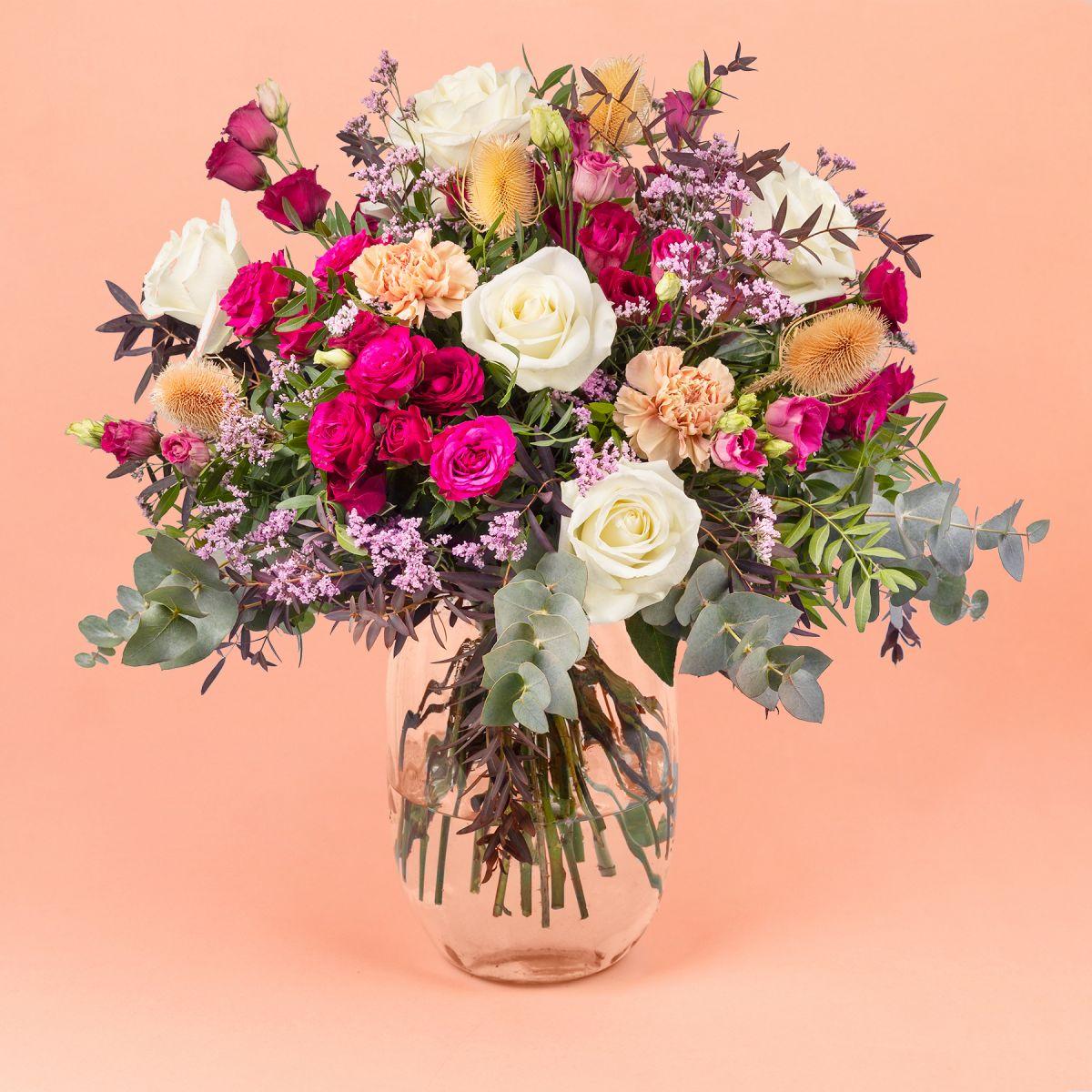 Mazzo di Fiori di  Rose Rosa e Lisianthus  - Sunset - Fiori a domicilio - Colvin