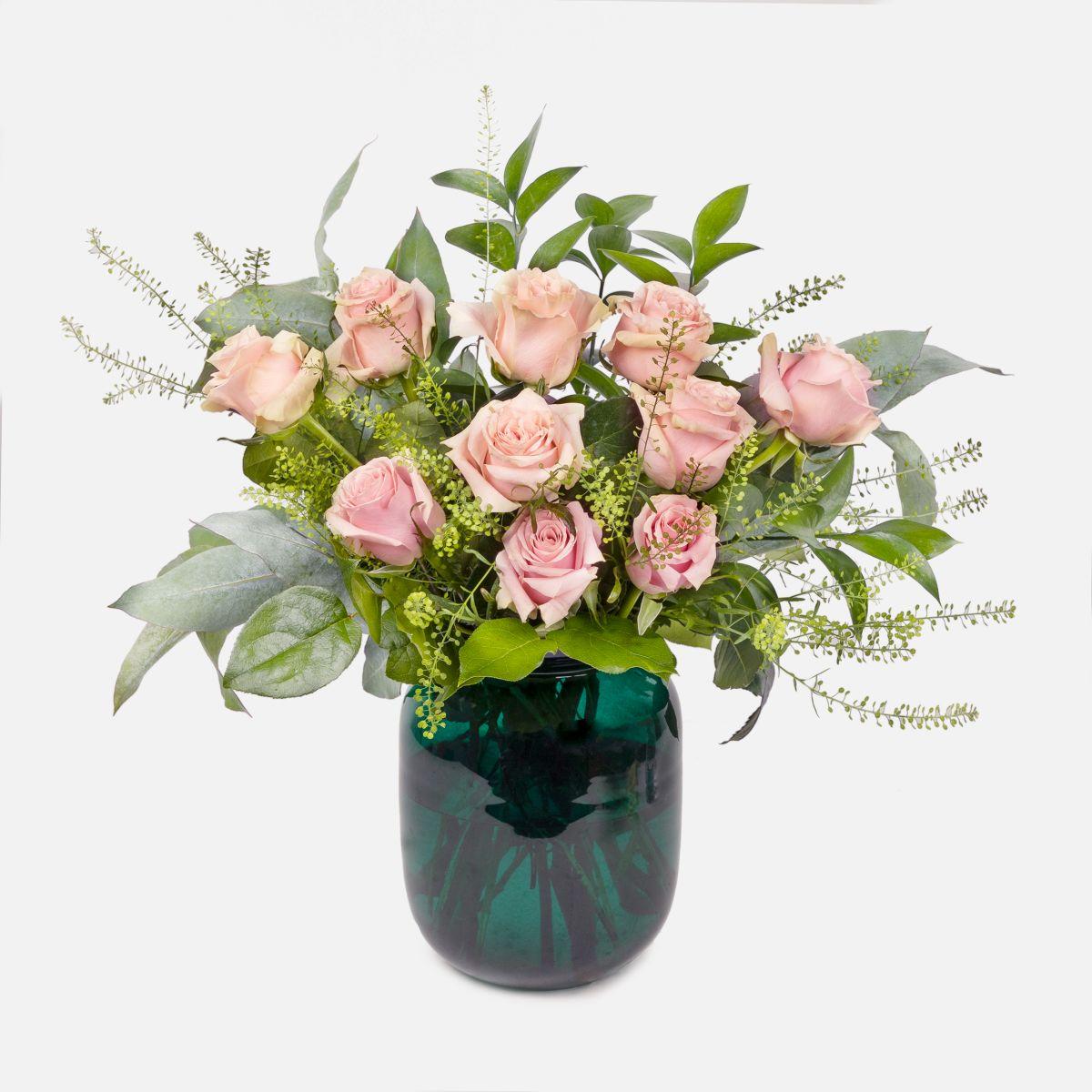 Fiori a domicilio - Rose rosa e foliage - Living In Pink - Colvin