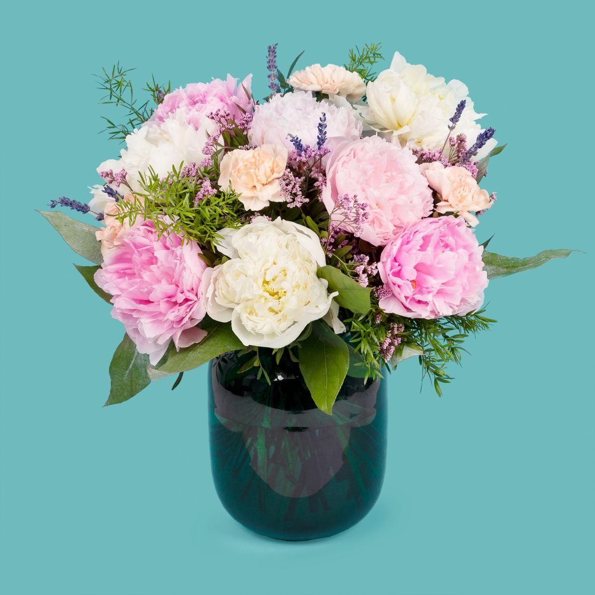 Fiori a domicilio - Bouquet di Peonie Rosa, Bianche e Garofani  con Peonie Extra - TAG ME - Colvin