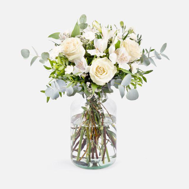 Alpine Essence - Lisianthus e Rose bianche - Fiori a domicilio - Colvin