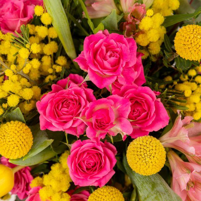 Invia fiori con mimosa e tulipani a domicilio