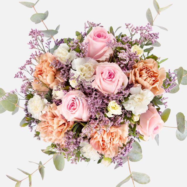Blumenstrauß mit rosa Rosen und Nelken  online verschicken