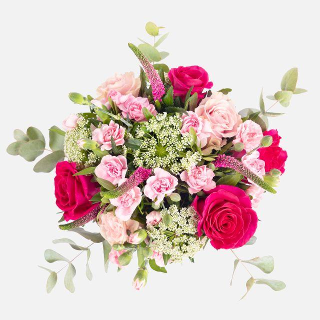 Envío a domicilio de ramo de flores de rosas rosa