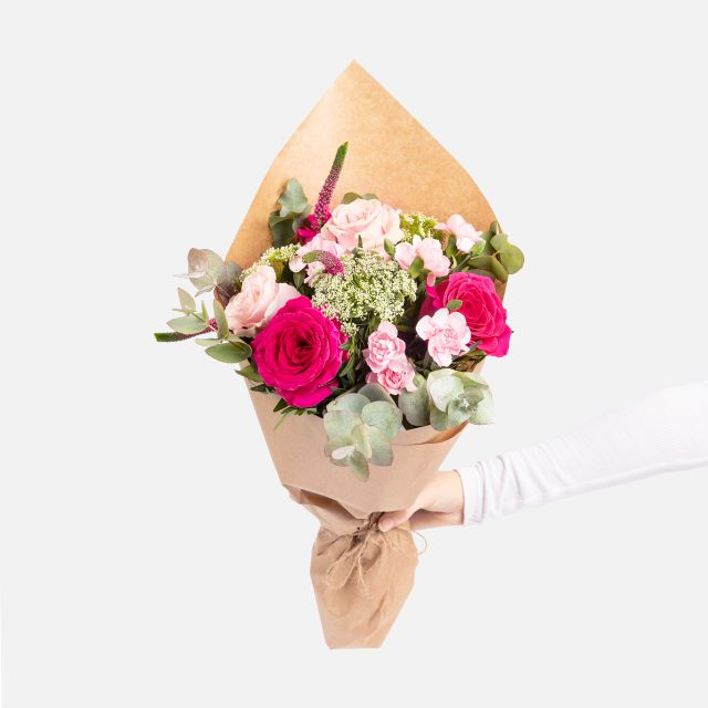 Enviar online ramo de flores con rosas rosa