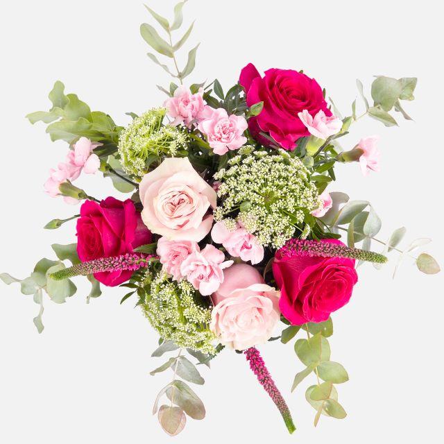 Envío online de ramo de flores con rosas rosa