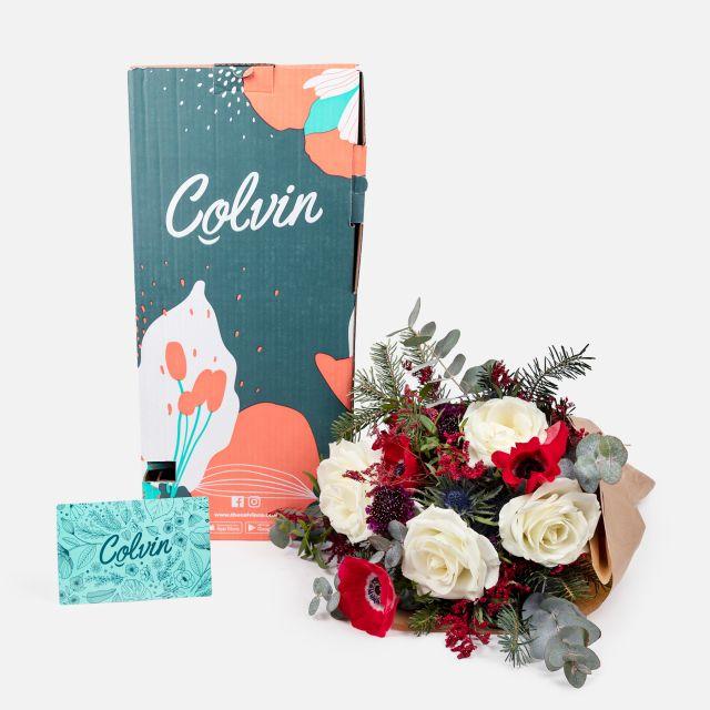 Invia bouquet con anemone e rosa