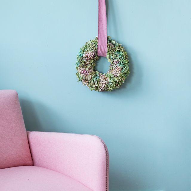 Enviar corona de flores hortensias secas