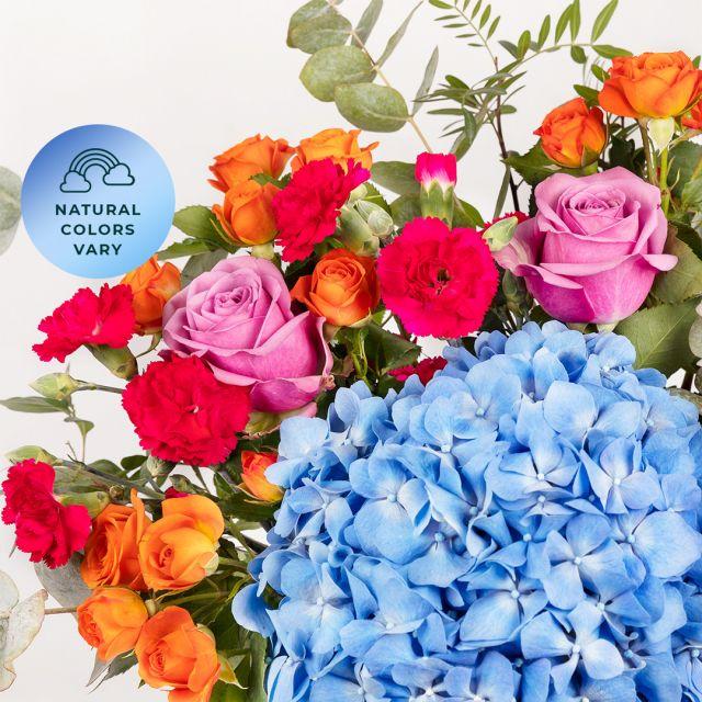 Comprare bouquet di ortensie azzurre e rosa