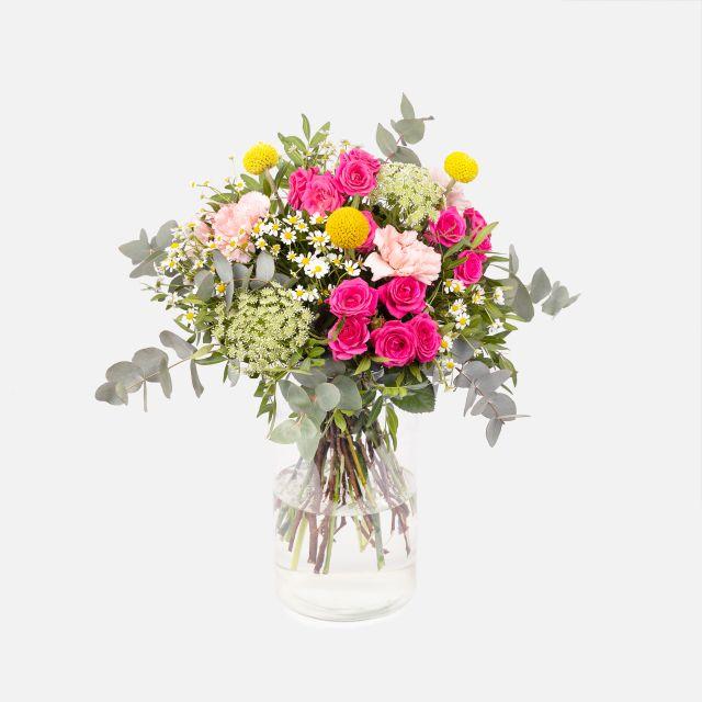 Inviare rose e craspedia gialla a domicilio