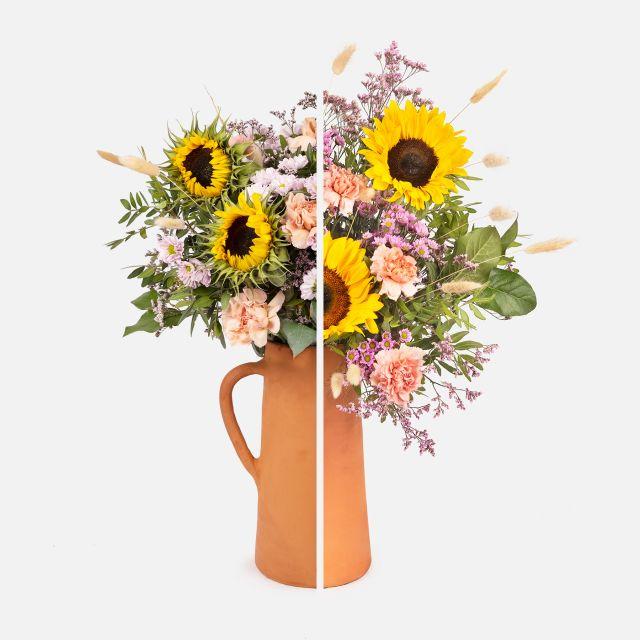 Comprar ramo de flores con girasoles y claveles