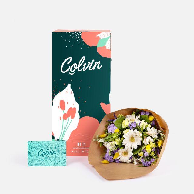 Ramo de flores con lavanda e aster