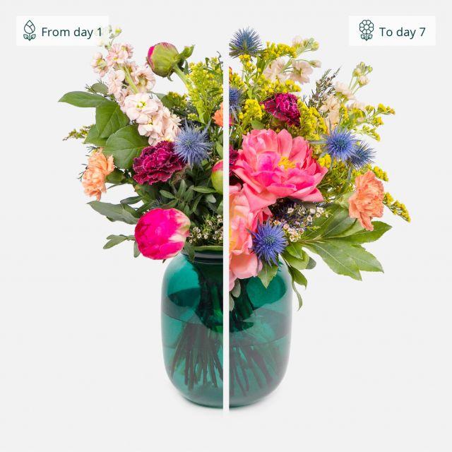 Ramo de flores de peonías y claveles