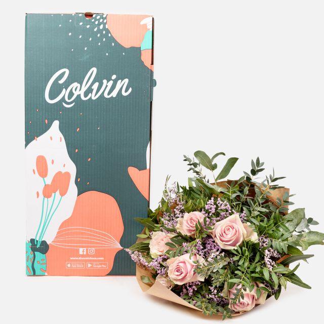 bouquet di fiori online rose e limonium