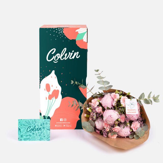 Ramo de flores con peonías rosas
