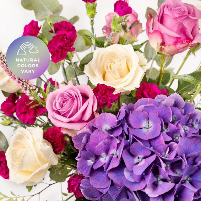 Comprare bouquet di ortensie viola e rosa
