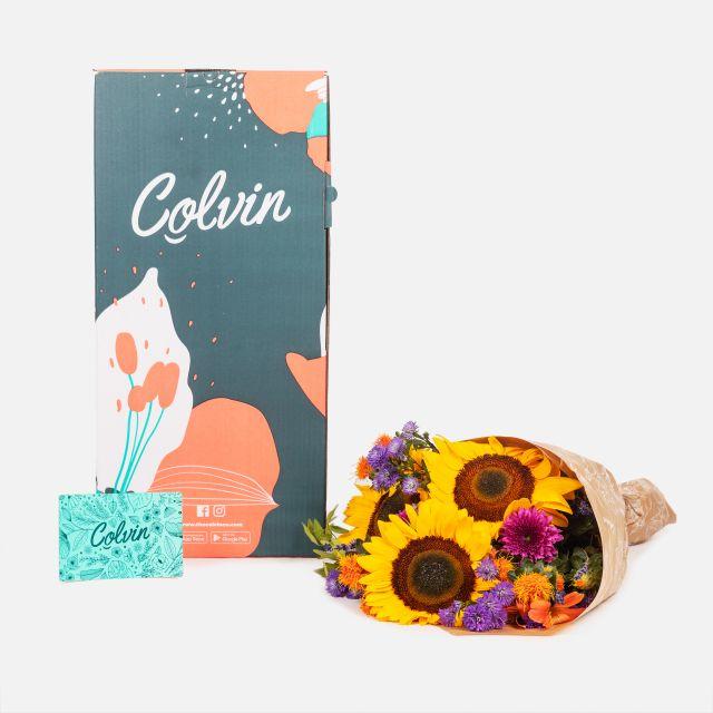 Envío online ramo de girasoles y crisantemos