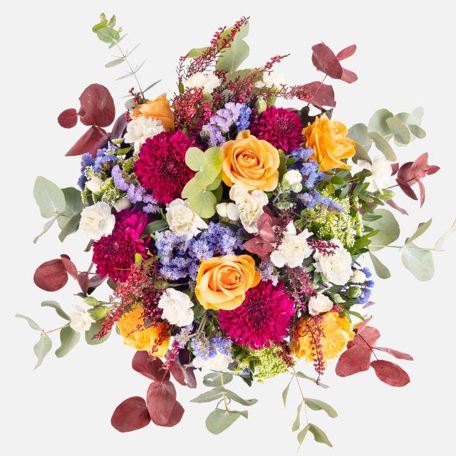 Consegna a domicilio bouquet di fiori con crisantemi viola