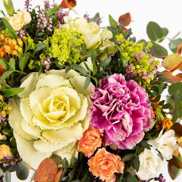 Enviar ramo de flores online con brassicas naranjas