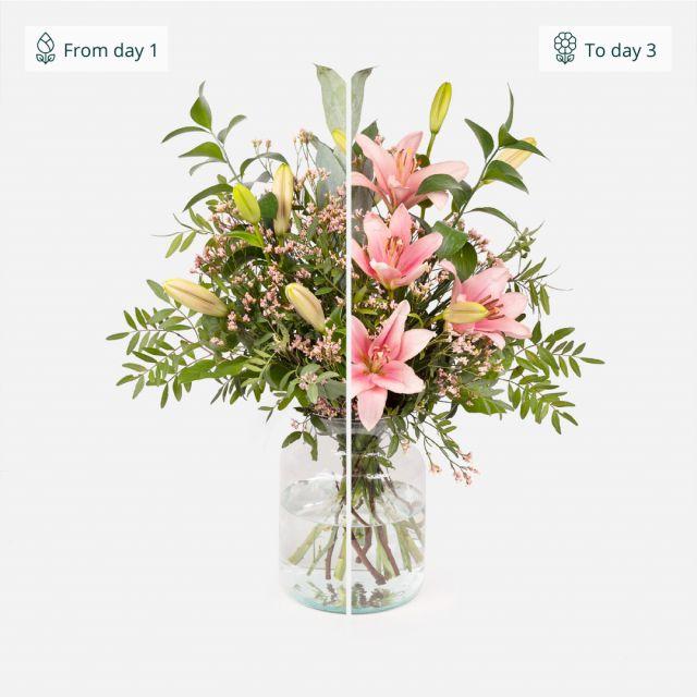 Onlineversand von Blumenstrauß mit Lilien und Astromelien