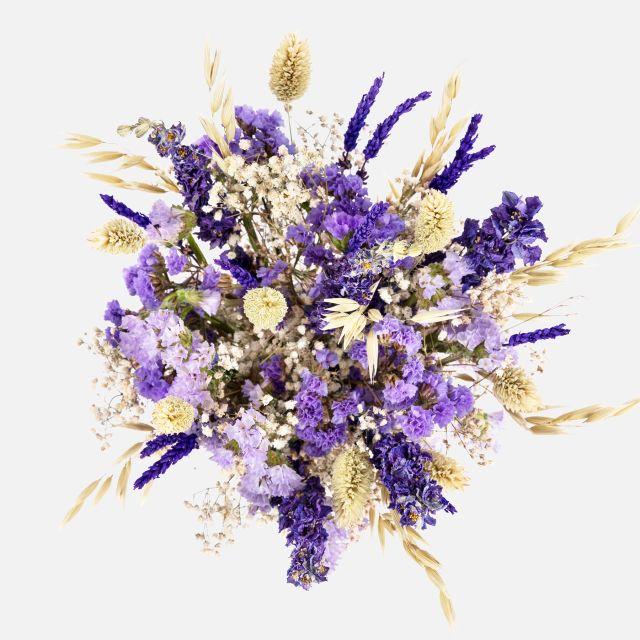 Bouquet di fiori secchi con avena e ruscus