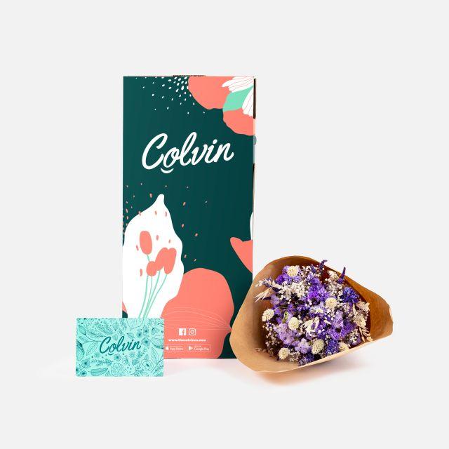 Invio online bouquet di fiori secchi con lavanda