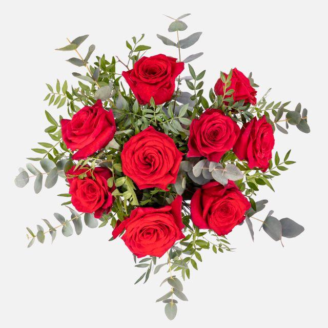 Envío online de ramo de flores de rosas rojas y eucalipto