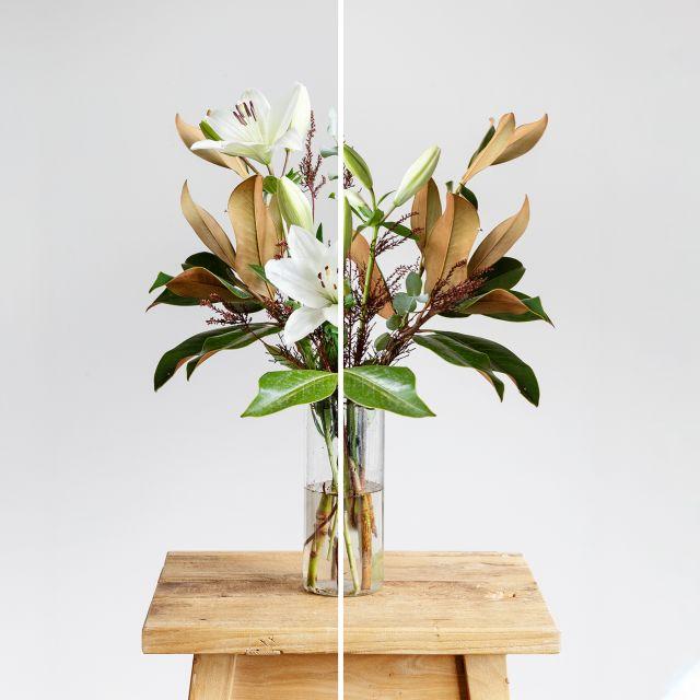 Acquista bouquet con magnolia e gigli bianchi