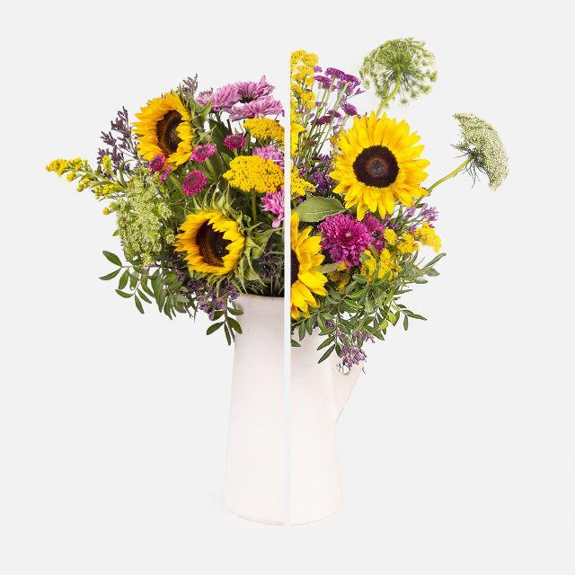 Blumenstrauß aus Sonnenblumen und Limonium nach Hause schicken