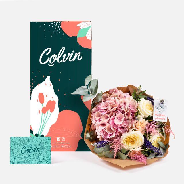 Envío online de ramo con hortensias rosas
