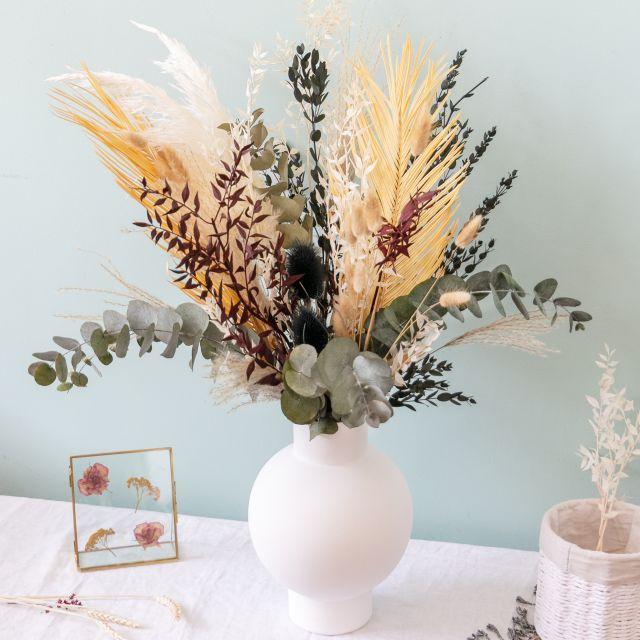 Envio online ramo flores secas folhas de palmeira