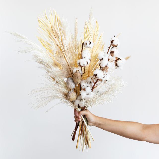 Ramo flores secas algodão
