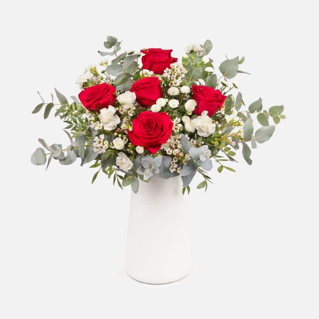 Mazzo di Fiori di Rose Rosse e Rose Bianche - THE MATCH - Fiori a domicilio - Colvin