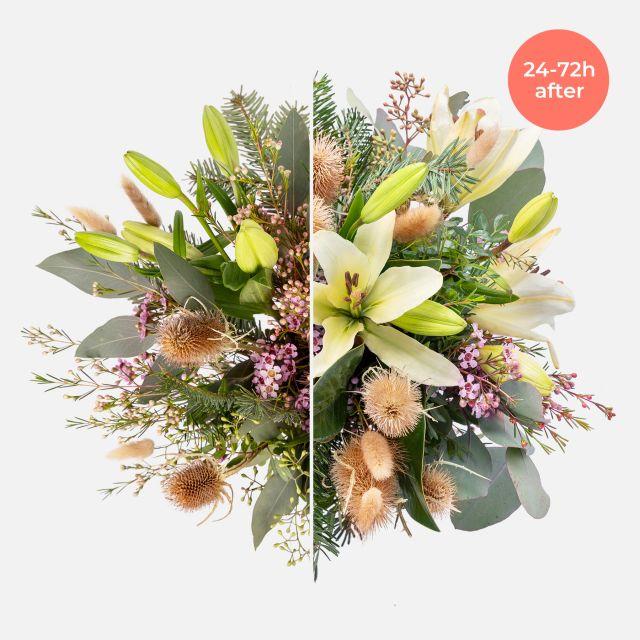 Ramo de flores con liliums y eucalipto
