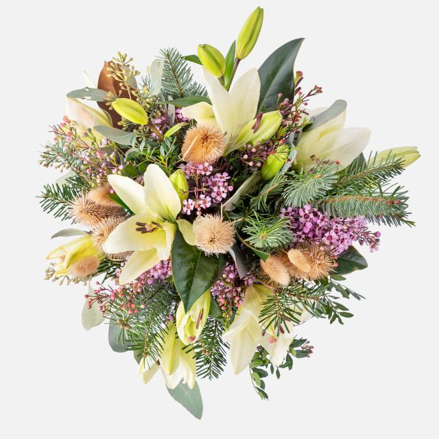 Ramo de flores de liliums y eucalipto a domicilio